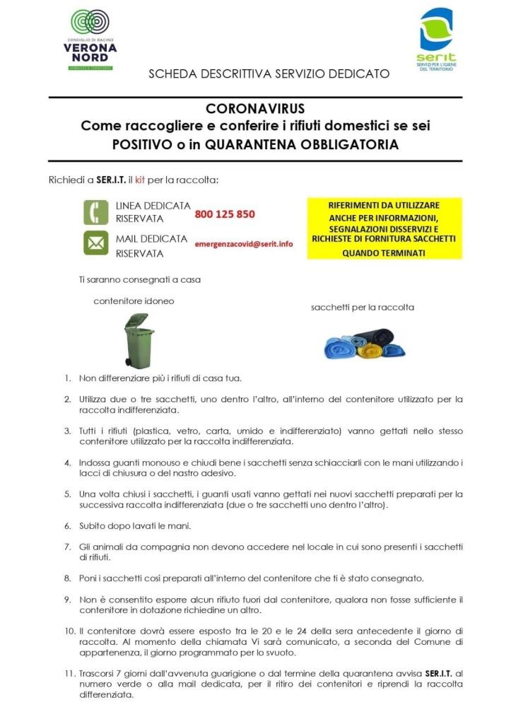 CORONAVIRUS - Come raccogliere e conferire i rifiuti domestici se sei positivo o in quarantena obbligatoria