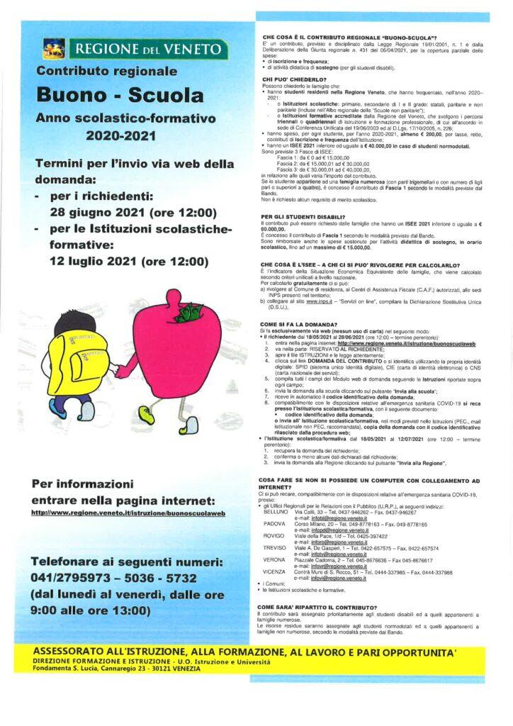 CONTRIBUTO REGIONALE BUONO-SCUOLA 2020-2021